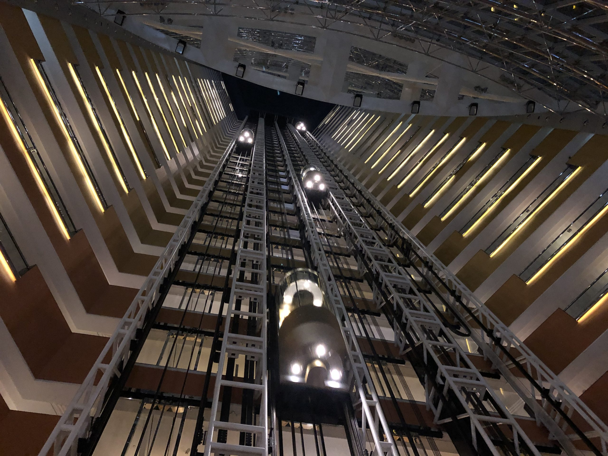 Elevators at the Jumeirah Emirates Towers, Dubai — just makes me think of a scene from _Star Wars_